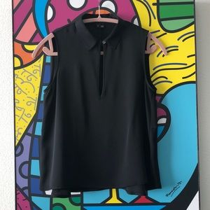 NWOT Theory Black silk top